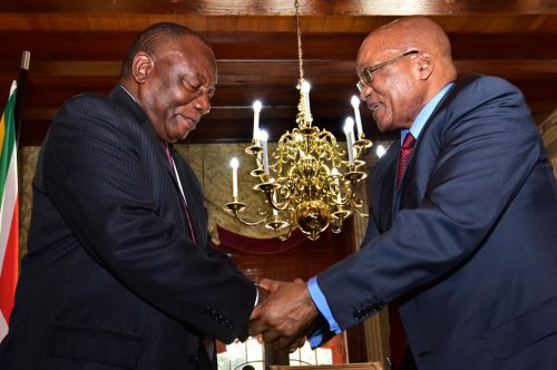 President Cyril Ramaphosa (left) and former president Jacob Zuma. Picture: Twitter/@GovernmentZA