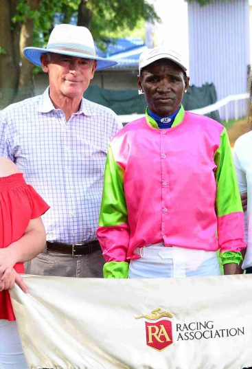 LEADER. Goodman Dadamasi, pictured with trainer Geoff Woodruff, after his win on No Mans Land in the first leg of the Work Riders' Challenge. Dadamasi holds a four-point lead going into tomorrow's second leg.