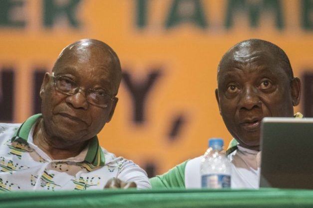 SOWETO, SOUTH AFRICA – DECEMBER 18: PResident Jacob Zuma and new president of the ANC Cyril Ramaphosa during the announcement of new party leadership at the 5th African National Congress (ANC) national conference at the Nasrec Expo Centre on December 18, 2017 in Soweto, South Africa. As ANC delegates' supporters of the two presidential candidates were equally confident that their preferred choice will be announced as the new president of the ANC. The race was between Nkosazana Dlamini-Zuma and Cyril Ramaphosa' the only two nominees for the party's top position. (Photo by Gallo Images / Alet Pretorius)
