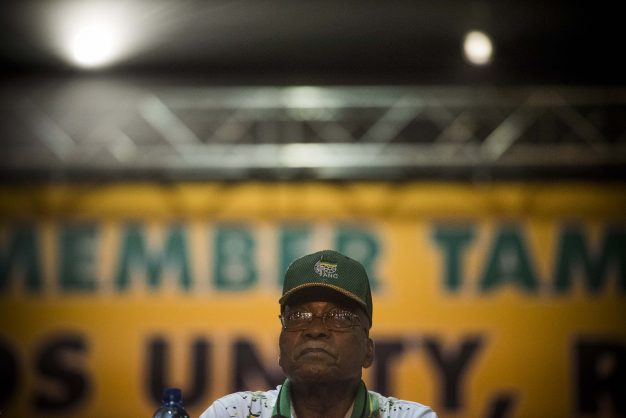 SOWETO, SOUTH AFRICA – DECEMBER 18: President Jacob Zuma during the announcement of new party leadership at the 5th African National Congress (ANC) national conference at the Nasrec Expo Centre on December 18, 2017 in Soweto, South Africa. As ANC delegates' supporters of the two presidential candidates were equally confident that their preferred choice will be announced as the new president of the ANC. The race was between Nkosazana Dlamini-Zuma and Cyril Ramaphosa' the only two nominees for the party's top position. (Photo by Gallo Images / Alet Pretorius)
