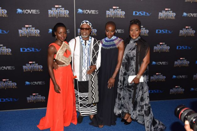 Some cast members Lupita Nyong'o, John Kani, Danai Gurira and Connie Chiume of the movie Black Panther are pictured at the South African Premiere at Monte Casino in Fourways, 16 February 2018. Picture: Refilwe Modise