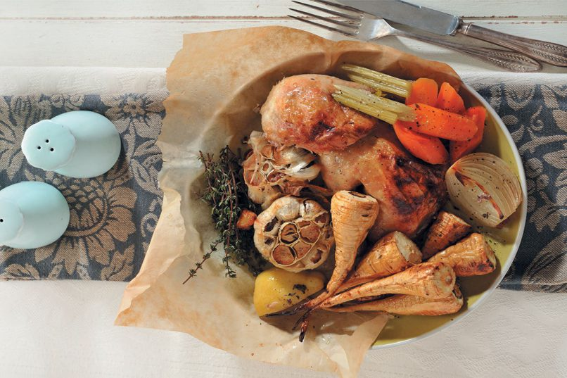 Lemon-roasted chicken with parsnips.