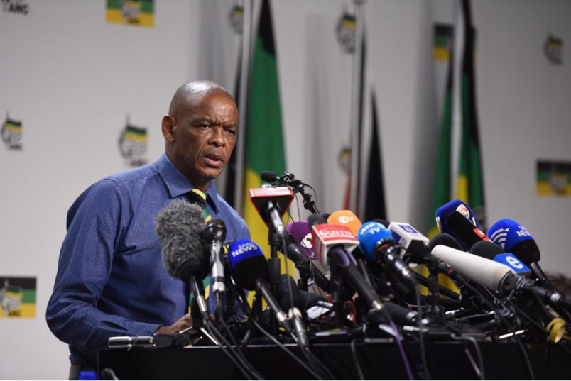 ANC SG Ace Magashule during media briefing on Jacob Zuma recalling. ANC DIP.