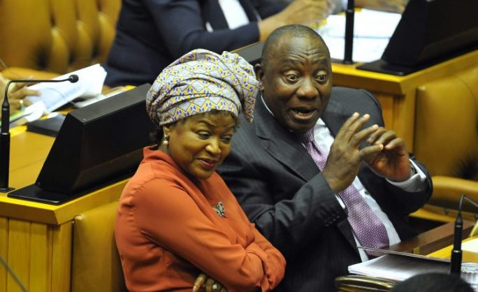 CAPE TOWN, SOUTH AFRICA – FEBRUARY 15: Speaker of the National Assembly Baleka Mbete and Deputy President Cyril Ramaphosa during the second day of the 2017 State of the Nation Address (SONA) debate at the National Assembly on February 15, 2017 in Cape Town, South Africa. Political parties debated President Jacob Zuma's SONA which was marred by chaos, violence and insults. (Photo by Gallo Images / Beeld / Lulama Zenzile)