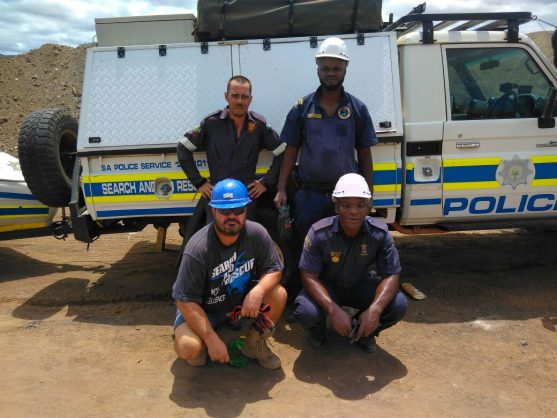 The search and rescue team who rescued an illegal miner. Photo: SAPS
