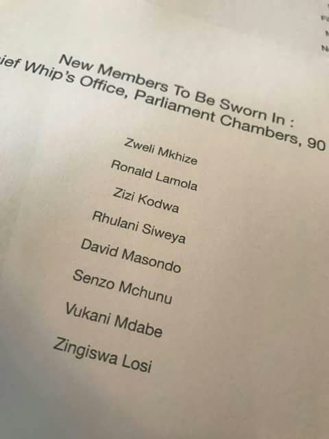 A document purporting to be of new ministers.