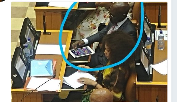 Malusi Gigaba playing an iPad game in parliament. Picture: Twitter