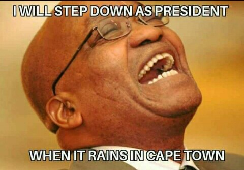 A meme about President Jacob Zuma refusing to step down is circulating on social media.