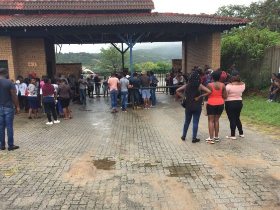 Students are protesting the new bursary being rewarded to first year students.