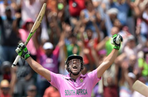 AB de Villiers celebrates his 31-ball hundred, a world record. (Photo by Duif du Toit/Gallo Images)