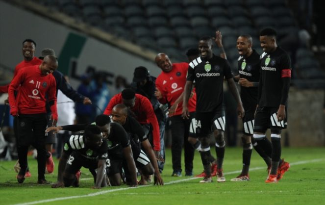 Bernard Morrison of Pirates celebrating his second goal with team mates during the Nedbank Cup Last 32 match between Orlando Pirates and Ajax Cape Town at Orlando Stadium on February 10, 2018 in Johannesburg, South Africa. (Photo by Gallo Images)