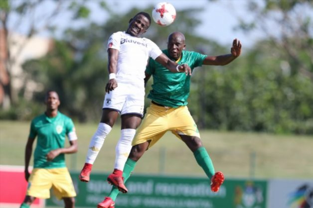 Musa Bilankulu of Golden Arrows and Edwin Gyimah of Bidvest Wits during the Absa Premiership match between Golden Arrows and Bidvest Wits at Princess Magogo Stadium on February 17, 2018 in Durban, South Africa. (Photo by Anesh Debiky/Gallo Images)