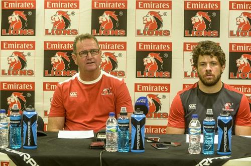 Lions coach Swys de Bruin and captain Warren Whiteley. Picture: Sydney Seshibedi/Gallo Images