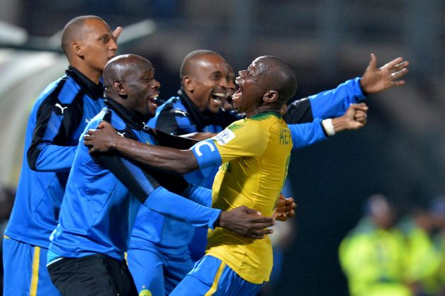 Kennedy Mweene, Hlompho Kekana,Wayne Arendse   and Tiyani Mabunda  celebrate a goal. (Photo by Lefty Shivambu/Gallo Images)