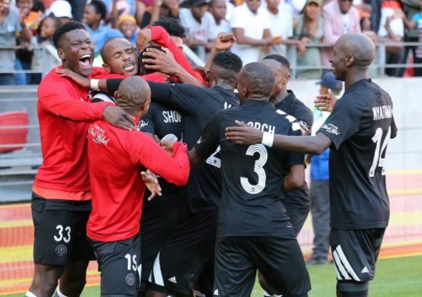 Teammates congratulate Justin Shonga of Orlando Pirates on his goal during the Absa Premiership match between Chippa United and Orlando Pirates at Nelson Mandela Bay Stadium (Photo by Richard Huggard/Gallo Images)