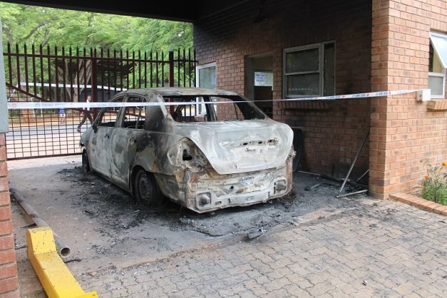 The vehicle that was torched by Ehlanzeni TVET College: Barberton Campus students.
