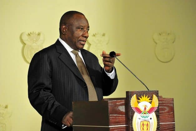 President Cyril Ramaphosa during the late night announcement of his new cabinet. Elmond Jiyane, GCIS