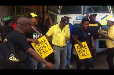 WATCH: Protesters square off outside Luthuli House