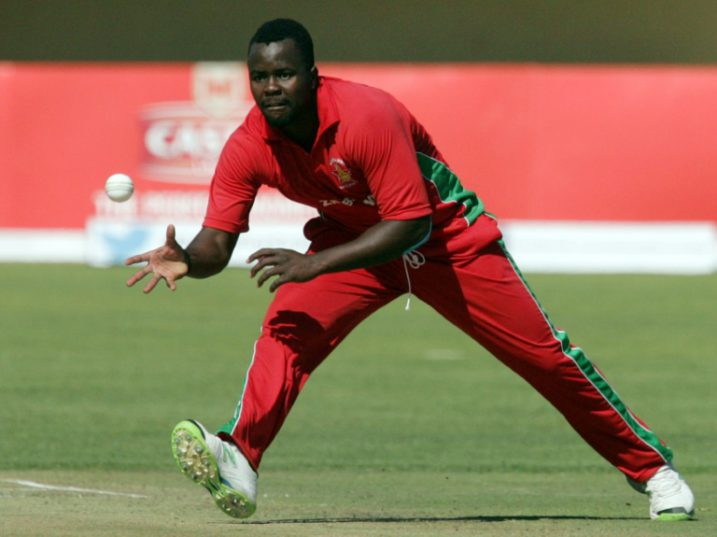 Zimbabwe's bowler Brian Vitori in action during the second cricket match of a three-match series of One Day Internationals (ODI) between between Zimbabwe and South Africa at the Queens Sports Club in Bulawayo, on August 19, 2014