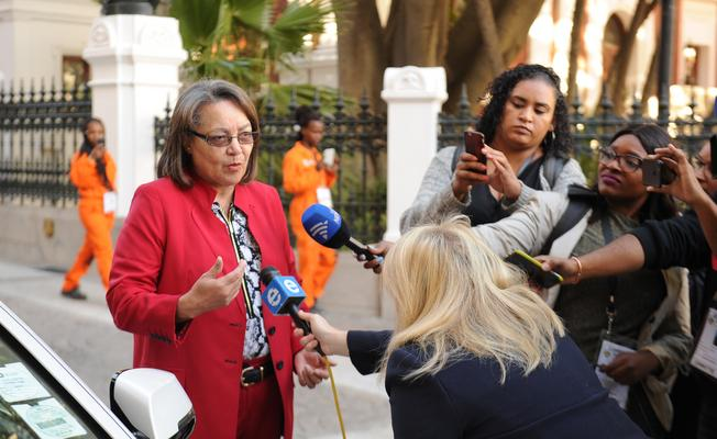 Cape Town mayor Patricia de Lille outside parliament. Picture: ANA