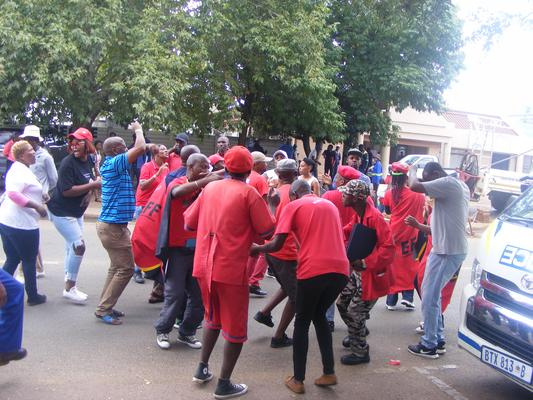 A group of protesters sing and dance outside the Bronkhorstspruit Magistrate's Court a week ago where a man appeared for allegedly raping his parents' domestic worker and forcing her to perform sexual acts with his dogs. Picture: ANA