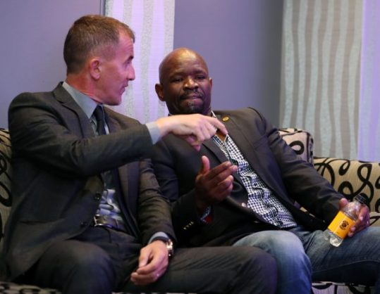 Milutin Sredojevic , coach of Orlando Pirates with Steve Komphela, coach of Kaizer Chiefs during the Absa Premiership 2017/18 Press Conference at PSL Offices,. (Muzi Ntombela/BackpagePix)