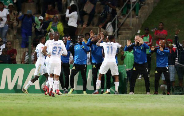 Sibusiso Vilakazi of Mamelodi Sundowns celebrates goal with teammates during the Absa Premiership 2017/18 match between AmaZulu and Mamelodi Sundowns at King Zwelithini Stadium. (Muzi Ntombela/BackpagePix)