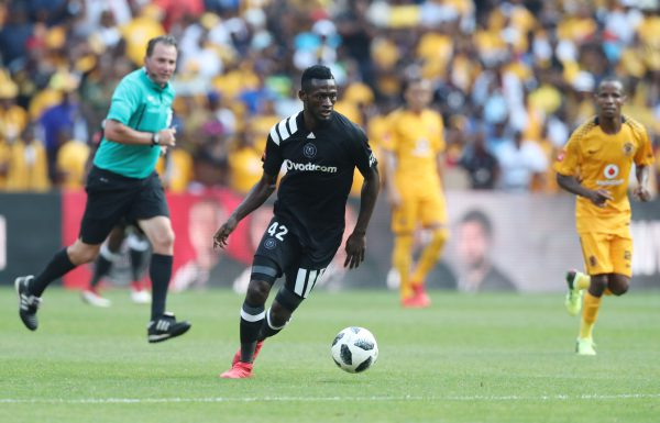 Augustine Mulenga of Orlando Pirates during the 2017/18 Absa Premiership football match between Orlando Pirates and Kaizer Chiefs at Soccer City. (Gavin Barker/BackpagePix)