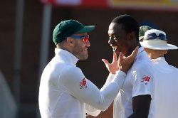 Faf du Plessis and Kagiso Rabada celebrate a wicket. Photo: Gallo Images.