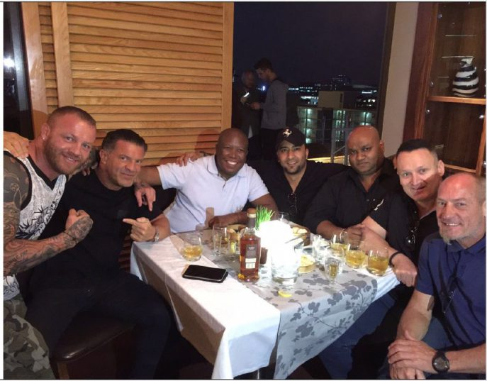 EFF leader Julius Malema with, among others, Mikey Schultz and Adriano Mazzotti. Picture: Twitter/@SteveMotale