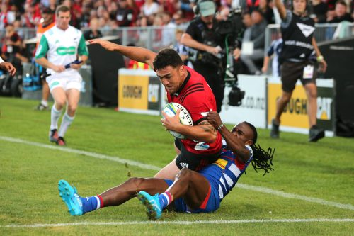 Codie Taylor of the Crusaders scores a try during the round two Super Rugby match between the Crusaders and the Stormers.  (Photo by Martin Hunter/Getty Images)