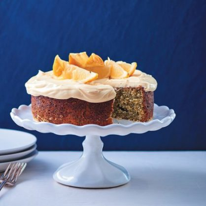 Lemon-poppyseed cake with cream cheese and lemon curd icing. Photo: Dylan Swart