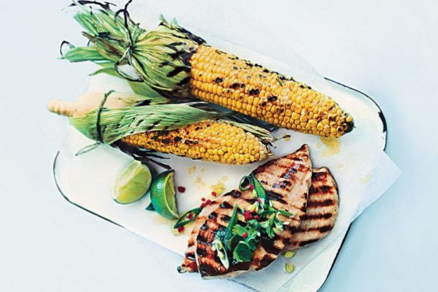 Lime and chilli chicken with smoky corn.