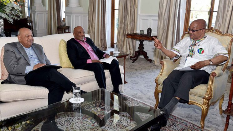 Mcebisis Jonas with former finance minister and Jacob Zuma during their tenture. Facebook.