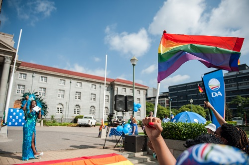 Members and supporters of the LGBTQ communities are seen gathered outside the Pretoria City Hall where for the first time ever the Pride flag was raised along with the South African flag, 21 March 2018, Pretoria. Picture: Jacques Nelles