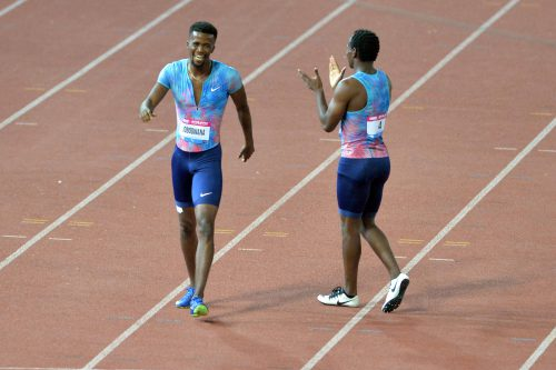 Anaso Jobodwana is congratulated by Clarence Munyai after an excellent run. (Photo by Lefty Shivambu/Gallo Images)