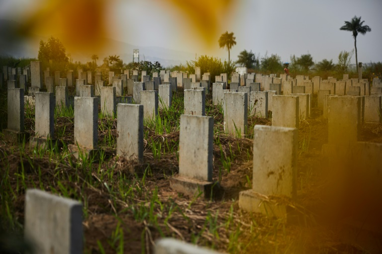 Headstones line the Waterloo Ebola graveyard in Sierra Leone which was among the countries hardest hit by the December 2013 Ebola outbreak, along with Guinea and Liberia