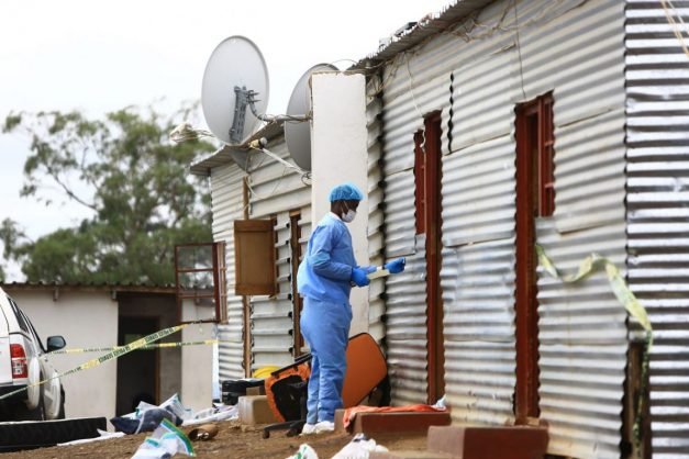 Forensic Investigators at the scene of a shootout at the Mancobo Seven Angels Ministries church, where seven men suspected of a deadly attack on police were killed in Engcobo on February 24. Picture Gallo Images / Sunday Times / Simphiwe Nkwali