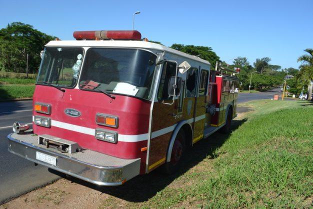 The firefighter truck windows were shattered Photo by Muzi Zincume