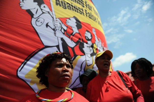 Members and supporters of the National Union of Metalworkers march through Johannesburg, 21 March 2018, against proposed new labour laws. Picture: Michel Bega