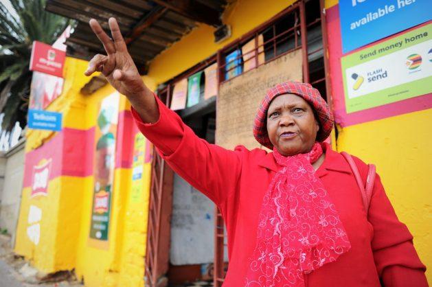 Betty Tsotetsi is seen outside her shop Tsotetsi's Tuckshop, in Soweto on 7 March 2018. Picture: Michel Bega