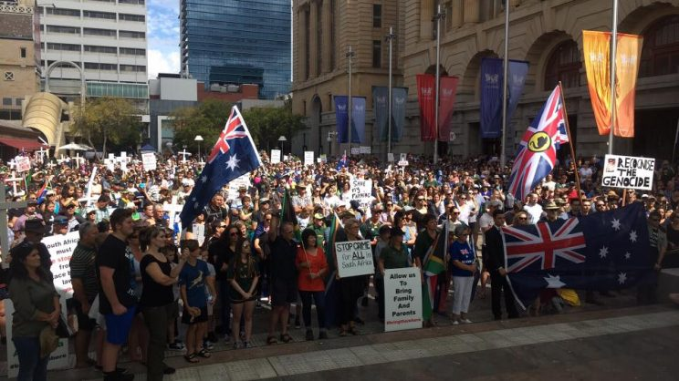 People march in Perth against 'genocide in South Africa'
