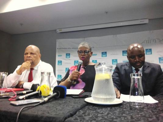 Moses Mabhida Stadium manager Vuzi Mazibuko, eThekwini mayor Zandile Gumede and Thembo Ntuli of the city's security committee brief the media on Wednesday. Photo: ANA