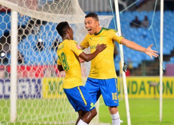 Ricardo Nascimento celebrates goal with Themba Zwane of Mamelodi Sundowns. (Samuel Shivambu/BackpagePix)