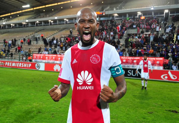 Mosa Lebusa of Ajax Cape Town celebrates after helping his team to a late win scoring the winner in the closing stages during the Absa Premiership 2017/18 game between Ajax Cape Town and Baroka FC at Athlone Stadium. (Ryan Wilkisky/BackpagePix)