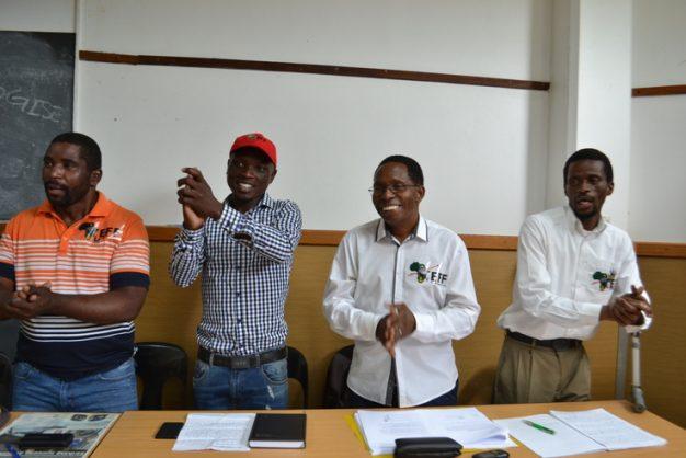The concerned EFF members, Thandizwe Mthembu, Eugene Khumalo, Bheki Shabane and Nhlanhla Biyela singing in support of King Zwelithini after the media briefing. Picture: Muzi Zincume