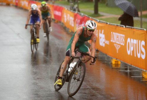 Henri Schoeman of South Africa during the Men's Triathlon on day one of the Gold Coast 2018 Commonwealth Games at Southport Broadwater Parklands on April 5, 2018 on the Gold Coast, Australia.  (Photo by Cameron Spencer/Getty Images)