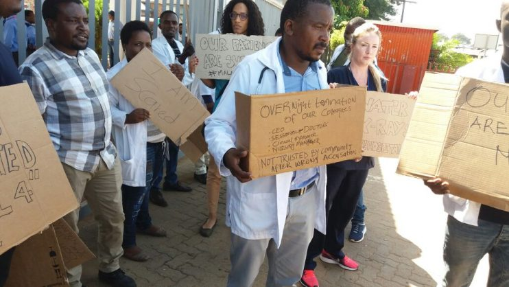 Malamulele Hospital doctors proesting for better working conditions.