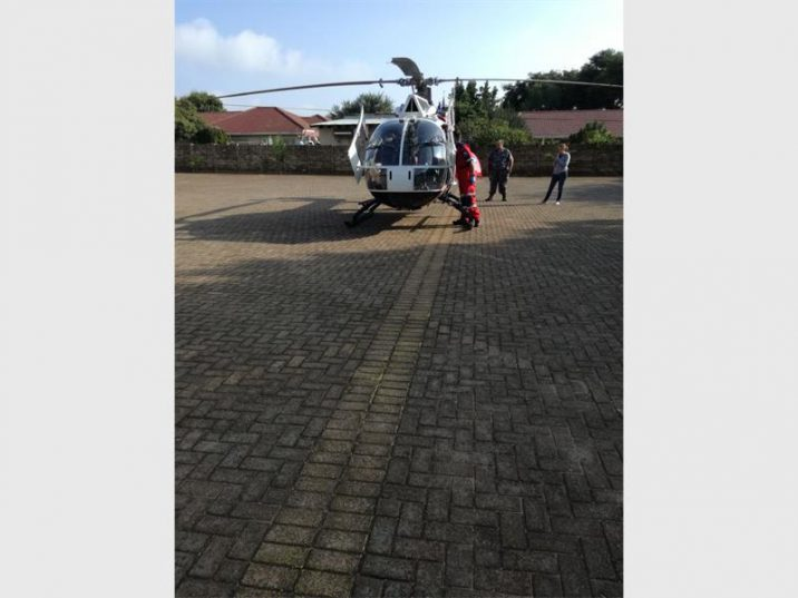 The ER24 Oneplan Medical Helicopter that took the elderly man to hospital. Photo: ER24.