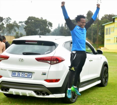 Percy Tau of Mamelodi Sundowns Presented with New Car from Hyundai after the Mamelodi Sundowns media open day at Chloorkop on April 12, 2018 in Pretoria, South Africa. (Photo by Lefty Shivambu/Gallo Images)